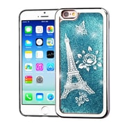 Insten Electroplating Eiffel Tower Quicksand Glitter Hybrid Hard Case Cover For Apple iPhone 6 / 6s - Blue/Silver