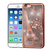 Insten Electroplating Eiffel Tower Quicksand Glitter Hybrid Hard Case Cover For Apple iPhone 6 / 6s - Rose Gold/Silver