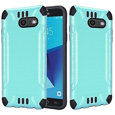 Insten Slim Armor Brushed Metal Hybrid PC/TPU Case Cover For Samsung Galaxy J7 (2017) - Teal/Black