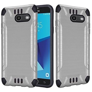 Insten Slim Armor Brushed Metal Hybrid PC/TPU Case Cover For Samsung Galaxy J7 (2017) - Silver/Black