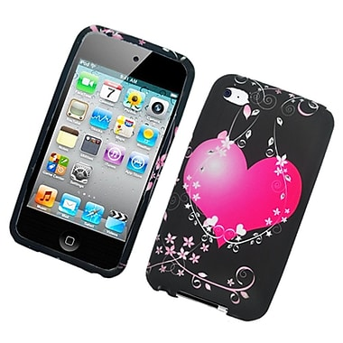 Insten Heart Hard Snap On Back Protective Case Cover For Apple iPod Touch 4th Gen - Black/Hot Pink