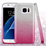 Insten Gradient Glitter Hybrid Dual Layer Hard PC/TPU Case Cover For Samsung Galaxy S7 - Pink