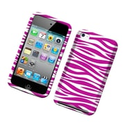 Insten Zebra Rubberized Hard Snap-in Protective Back Case Cover For Apple iPod Touch 4th Gen - Hot Pink/White