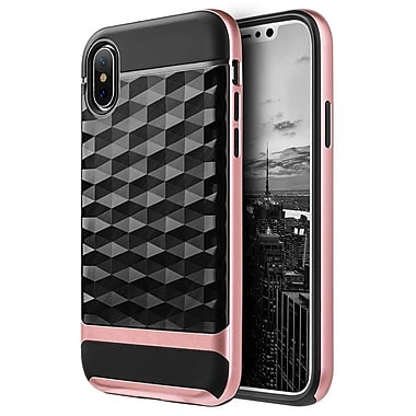 Insten Diamond Wave Dual Layer Hybrid PC/TPU Rubber Case Cover for Apple iPhone X - Black/Rose Gold