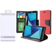 Insten Folio Leather Fabric Case w/stand/card slot For Samsung Galaxy J7 (2017)/J7 Perx/J7 Prime/J7 Sky Pro/J7 V - Red