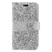 Insten Rhinestone Diamond Bling Leather Flip Wallet Pouch Case Cover For ZTE Max XL N9560 - Silver