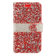 Insten Rhinestone Diamond Bling Leather Flip Wallet Pouch Case Cover For ZTE Max XL N9560 - Red/Silver