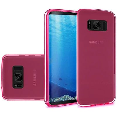 Insten TPU Rubber Candy Skin Back Gel Case Cover For Samsung Galaxy S8 - Clear Hot Pink 24224815