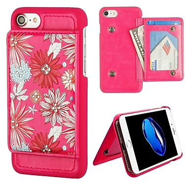 Insten Executive Protector Spring Daisies Stand Leather Wallet Flap Pouch Case Cover for Apple iPhone 7 - Hot Pink