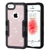 Insten Black Frame Full Glitter TUFF Vivid Hybrid Hard PC/TPU Case For Apple iPhone SE / 5 / 5S - Rose Gold/Black