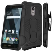 Insten SuperCoil Hybrid Premium Kickstand Cover PC/TPU Holster Case For LG Stylo 3 - Black