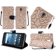 Insten Leather Textured Rose Flower Design Wallet Card Stand Flip Case For ZTE Avid Trio - Light Brown/Black
