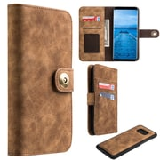 Insten Detachable Magnetic Book-Style Leather Fabric Cover Case w/card slot/Photo Display For Samsung Galaxy S8 - Brown