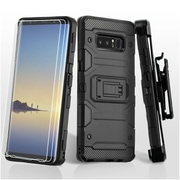 Insten Storm Tank Dual Layer Hybrid Stand PC/TPU Rubber Holster Case Cover for Samsung Galaxy Note 8 - Black