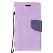 Insten Denim Fabric Case Lanyard w/stand/card slot For LG Fiesta LTE/K10 Power/X Charge/X Power 2 - Purple/Blue