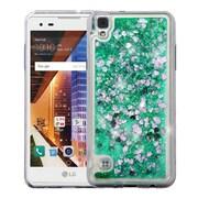 Insten Hearts Quicksand Glitter Hybrid PC/TPU Dual Layer Case For LG Tribute HD - Green