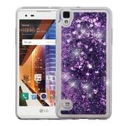 Insten Hearts Quicksand Glitter Hybrid PC/TPU Dual Layer Case For LG Tribute HD - Purple