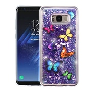 Insten Butterfly Dancing Quicksand (Hearts) Glitter Hybrid PC/TPU Case For Samsung Galaxy S8+ S8 Plus - Purple