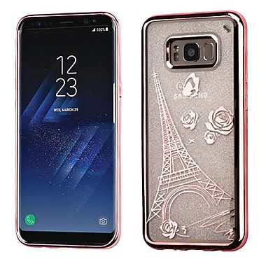 Insten Eiffel Tower Sheer Glitter Electroplated Premium TPU Candy Skin Case For Samsung Galaxy S8+ S8 Plus - Rose Gold