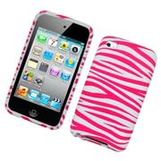 Insten Zebra Hard Snap-in Protective Back Case Cover For Apple iPod Touch 4th Gen - Hot Pink/White