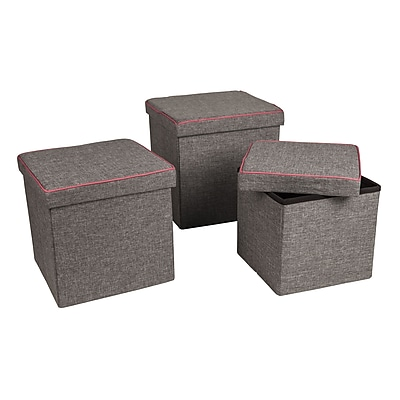 Danya B. Folding Storage Ottoman 3 Pc Set, Gray with Pink Piping (WX15317GRPK-SET)