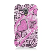 Insten Hearts Rhinestone Diamond Bling Hard Snap-in Case Cover For Kyocera Hydro Edge C5215 - Hot Pink