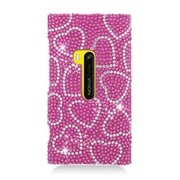 Insten Hearts Rhinestone Diamond Bling Hard Snap-in Case Cover For Nokia Lumia 920 - Hot Pink