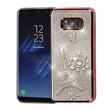 Insten Eiffel Tower Electroplating Quicksand Glitter Hybrid Hard Protective Case For Galaxy S8 - Rose Gold/Silver