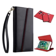 Insten Detachable Magnetic Stand Book-Style Leather [Card Slot] Wallet Flap Pouch Case Cover For Apple iPhone 7 - Black
