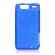 Insten Checker TPU Rubber Candy Skin Case Cover For Motorola Droid Razr XT912 - Blue