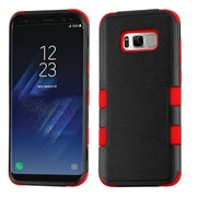 Insten TUFF [Shock Absorbing] Hybrid PC/Silicone Cover Case For Samsung Galaxy S8 - Natural Black/Red