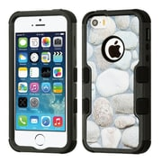 Insten Tuff Rocky Pebbles Dual Layer Hybrid PC/TPU Rubber Case Cover for Apple iPhone 5/5S/SE - Gray/Black