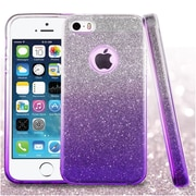 Insten Gradient Glitter Dual Layer Hybrid PC/TPU Rubber Case Cover for Apple iPhone 5/5S - Purple