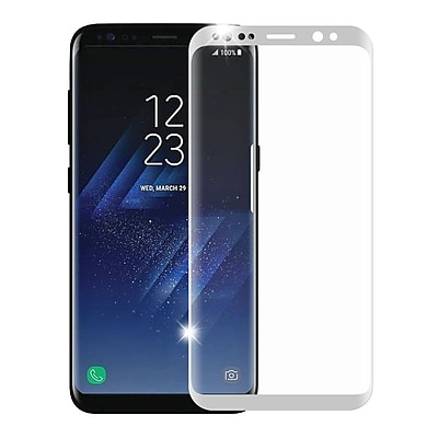 Insten Full Coverage Tempered Glass Screen Protector For Samsung Galaxy S8 Plus - Silver