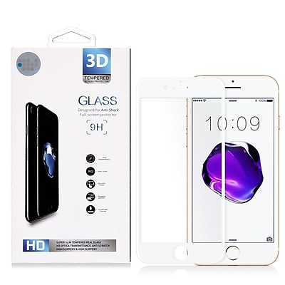 Insten 3D Arcing Full Coverage Tempered Glass Screen Protector For Apple iPhone 7 Plus/ 8 Plus, White