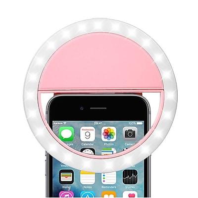 Insten Rechargable Selfie LED Ring Flash Fill Light Clip Camera w/Brightness for iPhone Samsung LG Smartphone - Pink