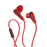 Wired Headset in-Ear Headphones with Integrated Microphone | Corded Stereo Earbuds with 3.5mm Jack - Red