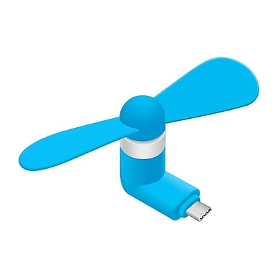 Insten Lightweight USB Type C Portable Rotating Mini Electric Cooling Fan Air Cooler for Phones/Tablets - Blue
