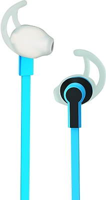 Sport Wired Stereo 3.5mm Earbuds – Sweatproof Corded Hi-Fi Earphones with Comfort Fit Rubber Hook - Blue