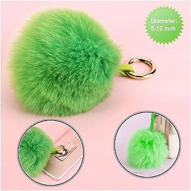 Insten Fox Fur Pom Pom Ball for Key Chain Cell Phone Car Handbag Charm Accessories - Light Green