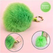 Insten Fox Fur Pom Pom Ball for Key Chain Cell Phone Car Handbag Charm Accessories - Light Green