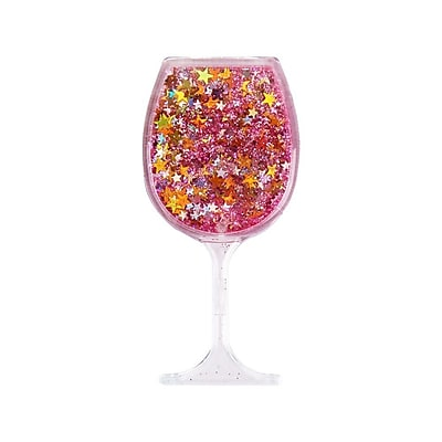 Insten Quicksand Floating Glitter Adhesive 3M Decal Sticker for Cellphone any Flat Surface - Wine Glass/Pink Stars