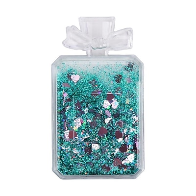 Insten Quicksand Floating Glitter Adhesive 3M Decal Sticker for Cellphone any Flat Surface - Perfume Bottle/Green Hearts
