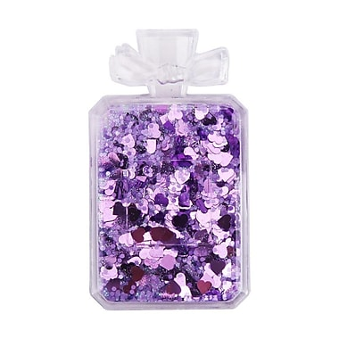 Insten Quicksand Floating Glitter Adhesive 3M Decal Sticker for Cellphone Flat Surface - Perfume Bottle/Purple Hearts