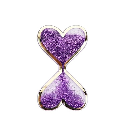 Insten Liquid Quicksand Floating Glitter Adhesive 3M Decal Sticker for Cellphone any Flat Surface - Double Hearts/Purple
