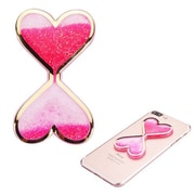Insten Quicksand Floating Glitter Adhesive 3M Decal Sticker for Cellphone any Flat Surface - Double Hearts/Hot Pink