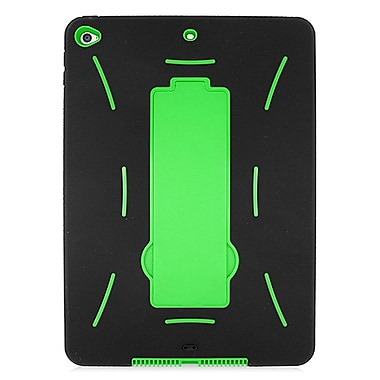 Insten Dual Layer [Shock Absorbing] Hybrid Stand Rubber Silicone/Plastic Case Cover For Apple iPad Air 2 - Black/Green