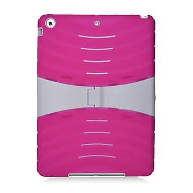 Insten Hybrid Dual Layer Stand Rubber Silicone/PC Case Cover For Apple iPad Air - Hot Pink/White (2365071)