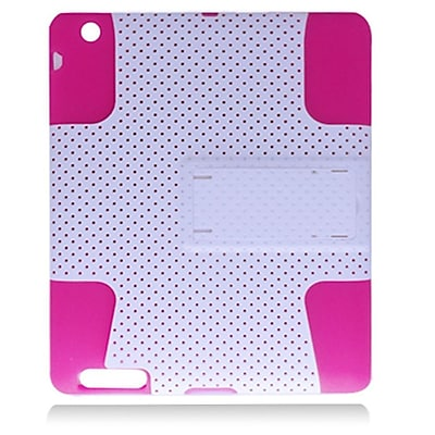 Insten Mesh Hybrid Dual Layer Stand Rubber Silicone/PC Case Cover For Apple iPad 2 / 3 / 4 - White/Hot Pink