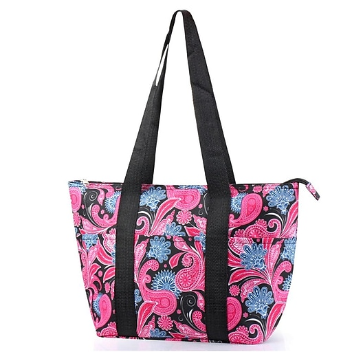 Zodaca Large Insulated Lunch Bag Cooler Picnic Travel Food Box Women Tote  Carry Bags - Pink Black Paisley  98cfb6ee4e